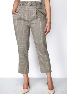 Women Gray Plaid Print Pocket Casual Pants - S Look Fashion, Skirt Fashion, Fashion Fall, Womens Fashion, Fashion Edgy, Cool Outfits, Casual Outfits, Pants For Women, Clothes For Women