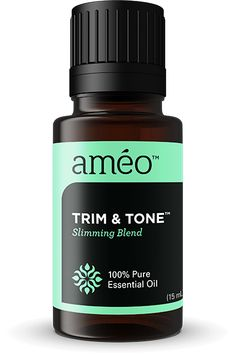 Trim & Tone Slimming Blend from Ameo Essential Oil. With Améo Essential Oils like Orange, Lemon,Tangerine, Black Peppercorn, Spearmint, Grapefruit and Peppermint,Trim &Tone aids in digestion, encourages detoxification, and helps remove extra water and fat from the body. It also invigorates the mind and body while releasing stress.