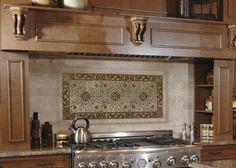 Kitchen Backsplash Centerpiece kitchen backsplash centerpiece | almond beige marble backsplash