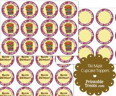 Printable Purple Tiki Mask Cupcake Toppers from PrintableTreats.com