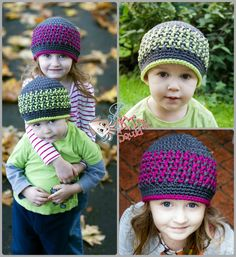 Crochet Bright Stripes Beanie Pattern by KT and the Squid Bonnet Crochet, Crochet Beanie Pattern, Crochet Cap, Free Crochet, Crochet Patterns, Hat Patterns, Double Crochet, Free Knitting, Crochet Ideas