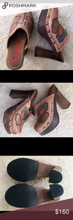 Selling this Exotic Handcrafted Leather/wood Round-toe Mules on Poshmark! My username is: sanamu. #shopmycloset #poshmark #fashion #shopping #style #forsale #Cravo&Canela #Shoes