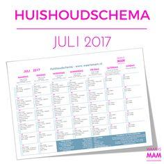 Gratis huishoudschema juli 2017. Download het nu.