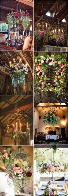 floral and greenery wedding chandelier decor ideas #weddings #weddingideas #weddingflowers #weddingdecor #weddinginspiration