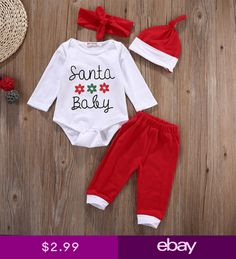 667508839 Newborn Baby Boys Girls 4Pcs Christmas Clothes Romper Pants Hat Headband  Outfits