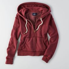 American Eagle Zip-Up Hoodie ($25) ❤ liked on Polyvore featuring tops, hoodies, maroon, maroon tops, zip up hooded sweatshirt, maroon hoodie, american eagle outfitters and hooded pullover