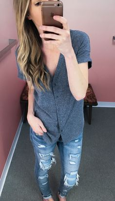 The coziest button front tee & distressed denim- Life By Lee