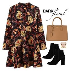 """""""Dark Florals"""" by abbes03 ❤ liked on Polyvore featuring MANGO, Prada and Stila"""