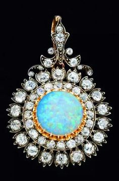 Pendent by West & Son & Dublin ca 1870 A Victorian Opal and diamonds Posted at Musetouch Visual Art Magazine