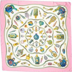 7e72aab4e4d5 For Sale on - Hermes Multi-Colored Qu  Importe Le Flacon Silk Scarf  Features perfume bottles printed throughout Made In  France Color   Multi-colored- blue