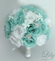Ramo de novia boda 17 pieza paquete flores Ramos por LilyOfAngeles
