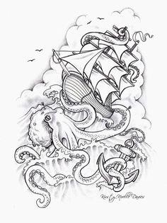 Octopus Sinking Ship Tattoo Design by kirstynoelledavies on DeviantArt – Octopus Tattoo Tattoos 3d, Kunst Tattoos, Sleeve Tattoos, Cool Tattoos, Temporary Tattoos, White Tattoos, Ankle Tattoos, Arrow Tattoos, Octopus Tattoo Design