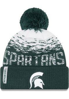 c0396cb3e14424 New Era Michigan State Spartans Green NE16 Sport Knit Flect Youth Knit Hat  Michigan Spartans,