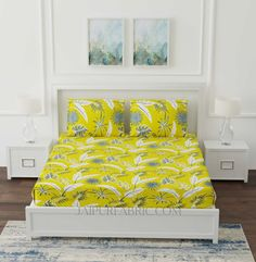 Lemon Yellow Foliage King Size Bedsheet King Size Bed Sheets, Cover Size, Lemon Yellow, Good Sleep, Pillow Covers, Colours, Pure Products, Furniture, Home Decor