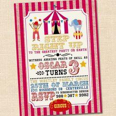 Step Right Up Circus Party Invitation. $15.00, via Etsy.