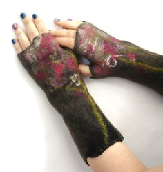 Susan Garry/FeltExperience - Brown with floral wet felted fingerless mittens