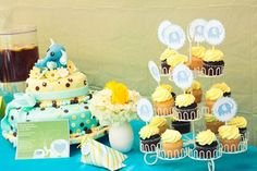 cute blue and yellow table