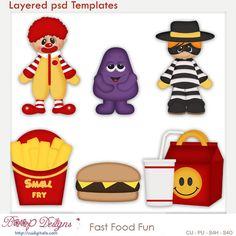 Fast Food Fun Layered Element Templates , McDonald's, cudigitals.com, cu, commercial, scrap, scrapbook, clipart,