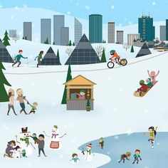 Winter City, Edmonton Landmark art print, home decor  Edmonton landmark art print with a unique Mid-Century / Folk Art take. A perfect Edmonton gift idea for any city lover or that poor soul that is leaving town. Purchase on www.snowalligator.com  Illustration by local artist Jason Blower  #yeg #yegart #yegwallart #wallart #EdmontonArt #edmontongift #yeggift #snow_aligator #charmingart #cuteart #midCentury #Folkart #cuteart #charmingart #edmontonartist