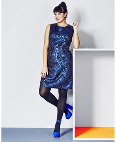 Blue Jacquard Dress With PU Side Panels at Simply Be