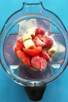 AMAZING Watermelon Strawberry Smoothie! Hydrating, refreshing, perfect for summer! #vegan #glutenfree #healthy #smoothie #recipe #watermelon #minimalistbaker