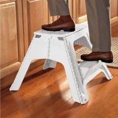 Extra Large White Folding Step Stool With Midway Step Easy Storage & Collapsible