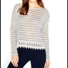 ☀️Maison Jules Crochet Trim Gray Striped Sweater ☀️Maison Jules Crochet Trim Gray Striped Sweater. Size XL. 58% Polyester 42% Rayon. Maison Jules Sweaters Crew & Scoop Necks