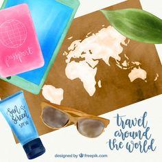 Aquarellkarte mit reiseelementen Kostenlosen Vektoren Layouts, World, Travel, Watercolor Map, Badge, Vectors, Viajes, Cards, Destinations