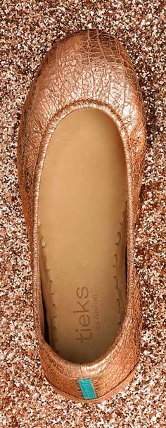Rose Gold Glam Tieks. Discover the most comfortable flats in the world. #tieks
