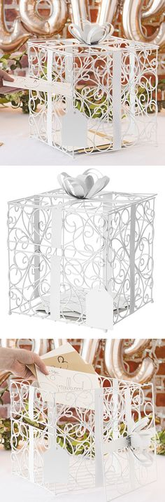 White Wedding Decor Idea - This matte white finish scrolled wire gift card box will be an attractive accent to any wedding reception theme. Fashioned to look like a gift-wrapped box, complete with wide metal ribbon band, bow, and dangling gift tag, this w Wedding Gift Card Box, Gift Card Boxes, Wedding Gift Wrapping, Wedding Cards, Wedding Gifts, Wedding Stuff, Wedding Reception Themes, White Wedding Decorations, Wedding Colors