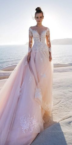Color Trend: 18 Blush Wedding Dresses You Must See ❤ blush wedding dresses a line with long sleeves lace naviblue ❤ #weddingdresses #weddingoutfit #bridaloutfit #weddinggown