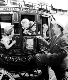 Walt Disney on opening day of the Stagecoach Ride in Frontierland, Disneyland.
