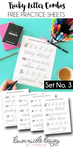 Tricky Letter Combo Practice Sheets: Set 3 of reader-requested letter combos! I hope you enjoy this series of Free Brush Calligraphy Practice Worksheets | DawnNicoleDesigns.com
