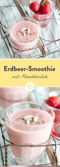Bananig, cremig, fruchtig, süß... so richtig lecker eben! Du willst den Bananen-Erdbeer-Smoothie selber testen? Dann ran an den Mixer! (Fitness Recipes)