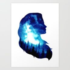 Art Print featuring Girl Forest Double Exposure - 2nd Versio… by Ahmad Illustrations