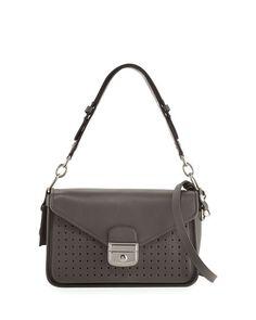LONGCHAMP Mademoiselle Perforated Leather Crossbody Bag, Gray. #longchamp #