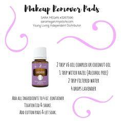 Makeup remover pads with Young Living essential oils. Sara Megan #3267596 Young Living Independent Distributor saramegan.myoilsite.com