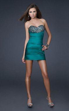 La Femme 15858 Emerald Sequined Strapless Sweetheart Short Dress