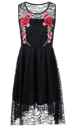 $19.79 Sleeveless Embroidery High Low Hem Lace Dress - Black