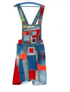 Crazy patchwork boro denim art arranged dungarees skirt.Made