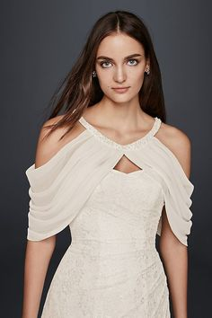 Top It Off: 10 Chic Bridal Cover Ups Add a unique accent to your wedding dress with delicate pleated chiffon sleeves. Punctuated by pearls at the neckline, this topper pairs perfectly with strapless dresses. Polyester Button closure I Wedding Dress Topper, Lace Wedding Dress With Sleeves, Wedding Dress Chiffon, New Wedding Dresses, Add Sleeves, Gowns With Sleeves, Robe Diy, Sleeves Designs For Dresses, Dress Alterations