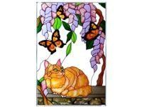 """Tabby Cat Yellow Butterfly Vertical Art Glass Panel Wall Hanging Suncatcher 20 x 14 by Keegan's Korner. $61.95. **  ** SHIPS UPS - Order BY DECEMBER 13 for CHRISTMAS DELIVERY **  **. Painted Glass, Made in the USA!!. Ships within 5 business days. Hooks are included for immediate placement. 14"""" W x 20.5"""" H. ** PURCHASE by 12/15 for CHRISTMAS DELIVERY! **"""
