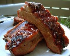I package of beef ribs (approx 10-12)   1/4 cup prepared mustard   1 can Salsa de Chile De Fresco (optional) it's basically spicy tomat...