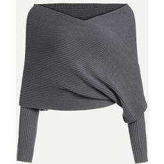 SheIn(sheinside) Dark Grey Off The Shoulder Sweater ($6) ❤ liked on Polyvore featuring tops, sweaters, shirts, grey, long-sleeve shirt, gray shirt, grey off the shoulder sweater, gray sweater and off shoulder shirt