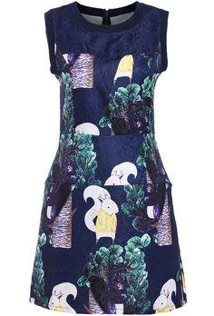 Navy Sleeveless Floral Jacquard Dress 21.83