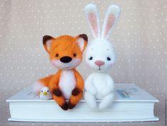 Купить Зверики на полочку - комбинированный, звери, заяц, зайка, лиса, лис, лисичка, войлок