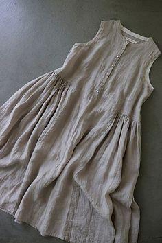 ikkuna sleeve-less 린넨원피스 (a) Kurta Designs Women, Blouse Designs, Linen Dresses, Cotton Dresses, Simple Dresses, Summer Dresses, Boho Fashion, Fashion Dresses, One Piece Dress