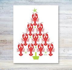 Christmas Card / Whimsical Lobster Tree / by CoastalColorsCapeCod