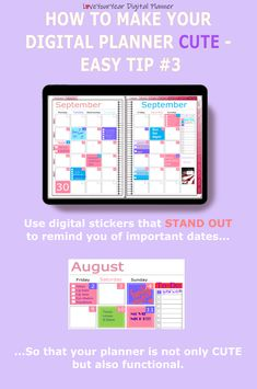 Make your digital planner look cute with 5 quick and easy tips - to help you get your stuff sorted. Digital Bullet Journal, Bullet Journal Layout, Planning And Organizing, Glitter Lips, Weekly Spread, Important Dates, Planner Ideas, Android Apps, Planer