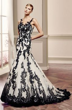 18920ed703 White And Black Lace Wedding Dresses 2015 Spring Applique Sweetheart